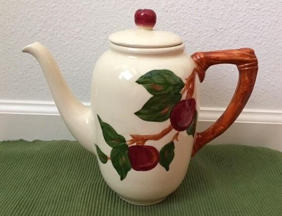 Apple Coffee Maker ~ Franciscan apple coffee tea ceramic pot  stamp made