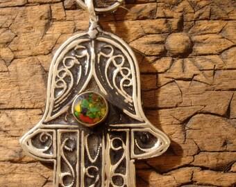 Mixed colour green  jewel  backed medium Moroccan Hand  pendant