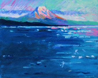Mt Rainier in Blue and Pink