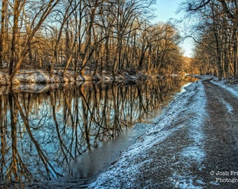 Winter Morning Delaware Canal, Landscape Photograph, Snow, Reflection, Bucks County, Pennsylvania, Towpath, Trees, Path, Wall Art print, HDR