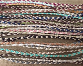 Fish Braid Hemp Bracelets / Anklets - Kids to Adult Sizes - Choose from 25 Color Combinations