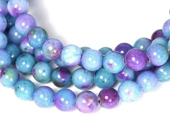 6mm White Jade in Lavender and Blue   -15 strand