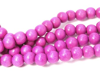 8mm Violet Purple Wood Beads -16 inch strand