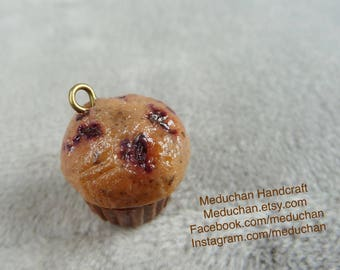 Miniature fruit burst muffin polymer clay charm