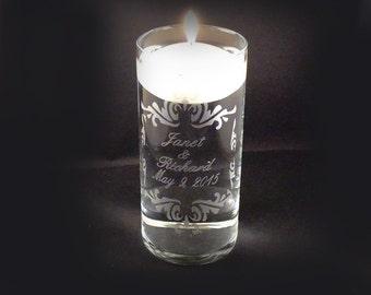 Custom Personalized Wedding Unity Candle Vase - Personalized Etched Glass Vase - Wedding Unity Ceremony Candle - Unity Candle Set