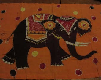 Vintage Elephant Batik Wall Hanging Orange Red Boystown 35 x 22 Cotton