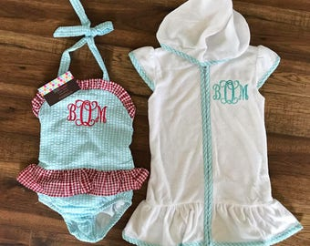 Personalized Monogrammed one Piece Swimsuits  Girls
