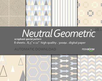 Neutral colors digital paper pack, Geometric patterns, Beige digital paper, Scrapbook paper, Printable paper, Instant download, Scrapbooking