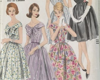 60s Vogue Dress Pattern . 1960 Fit and Flare Dress Pattern . Bow Collar Vogue 5038 Size 12 Bust 32