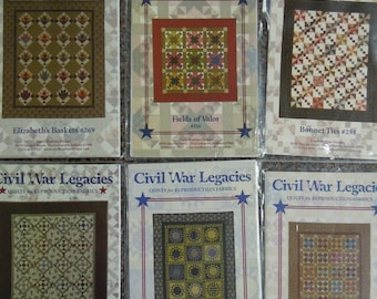 Civil War patterns - 6 by Civil War Legacies  Quilts for reproduction fabrics  uncut  Carol Hopkins Designs   2007-2013