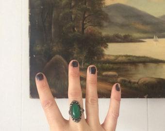 Vintage jade and sterling ring