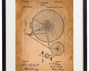 Set of 6 Prints Bicycle Patent Vintage Home Decor Wall Art Print