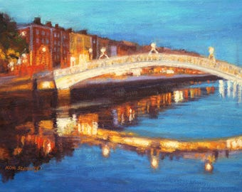 "Dublin Painting, Original Oil Painting, 11 x 14"", ""Dublin Liffey Bridge Night"" by Kim Stenberg, Rich Impressionistic Art, Ready to Hang"