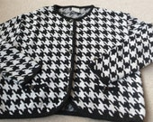 SALE 50% off Dogtooth black white cardigan gold edge buttons classic style 14 - 16  uk