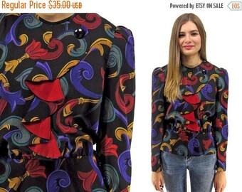 On Sale - Vintage 80s Baroque Peplum Top,  Wool Blouse, Ruffle Ascot, Puff Sleeve, Renaissance Top ΔΔ  xs / sm