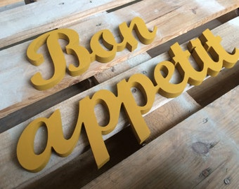 Kitchen decor accent Bon appetit wood sign Wall hangings wooden letters kitchen decor wall sign Bon appetit Yellow Red Blue Black