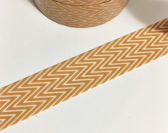 Light Brown Tan Skinny Chevron Washi Tape 11 yards 10 meters 15mm Chevron Washi Tape Skinny Chevron Washi Tape