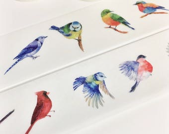 Gorgeous Watercolor Realistic Birds Variety of Birds Flying Birds Nature Wildlife Animal Washi Tape 11 yards 10 m 30mm