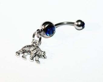 Bear Belly Button Ring, Woodland, Navel Ring, Animal Jewelry, Belly Piercing, Gift For Hiker, Hiking, Camping