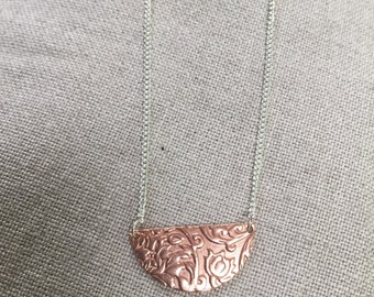 Floral half moon disc necklace
