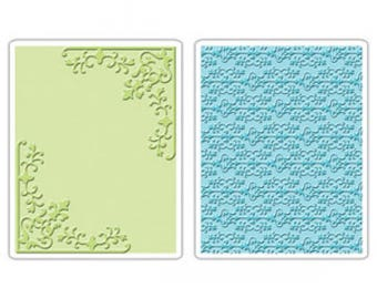 Sizzix - CORNERS & DAMASK Set Embossing Folders - 656977