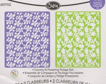Sizzix - COUNTRY & FLOWERING FOLIAGE Set Embossing Folders - 657112