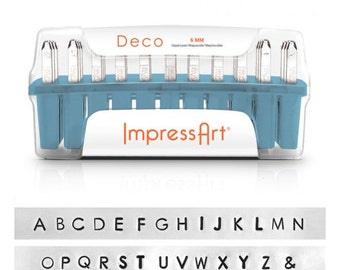 ImpressArt 6mm Uppercase DECO Font, Hand Stamp Alphabet Letters with Bonus Stamps! Metal Stamping Font, Block Font.