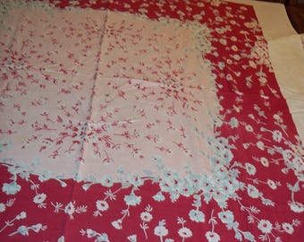 Vintage 50s cotton tablecloth table topper, Floral pink/rose flowers on white 55 x 49