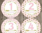 SALE Baby Girl Month Stickers Milestone Bodysuit Monthly Newborn Photo Baby Age Stickers Tribal Arrow Light Pink Gold Glitter Dots Nursery D