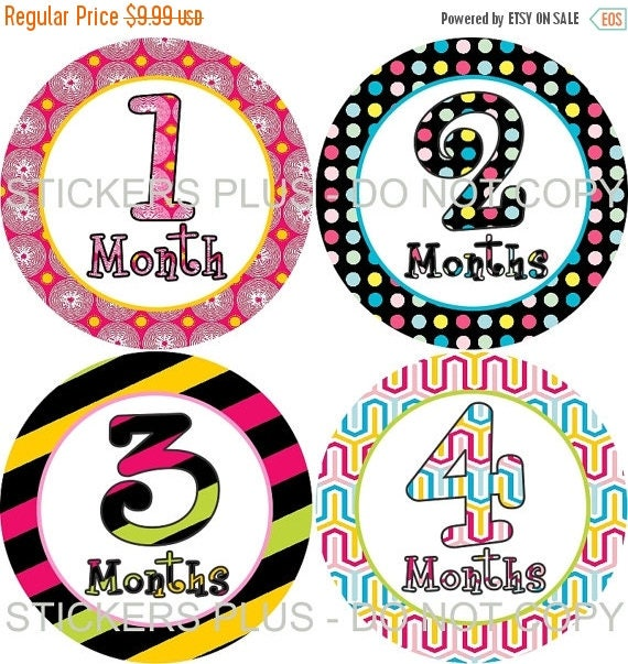 SALE Baby Month Stickers Plus FREE Gift Girl Bold Colorful Dots Stripes Green Pink Yellow Blue Black 1-12 Months Baby Age Stickers Photo Pro