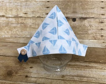 "Newborn Hat, Newborn Fabric ""Newspaper"" Sailor Hat, Newborn Photography Prop, Baby Hat, Cute Sailboat Fabric Newspaper Hat, Ready To Ship"