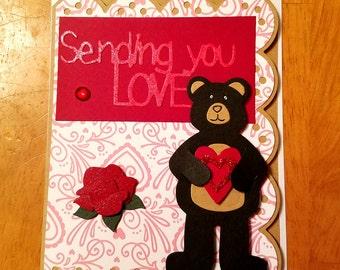 Teddy Bear Love, Handmade valentine card, sending you love, sweetheart, for anyone, Valentine's Day Card,