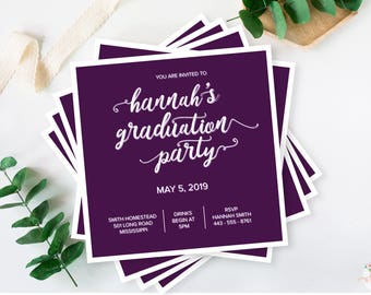 Graduation Party Invitations - Simple and Elegant Calligraphy Square DIY Set (printable)