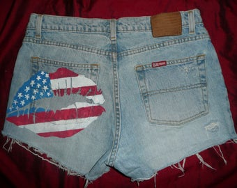 "Vintage women's Ralph Lauren cut off shorts "" Size 8 "" American flag High waist"