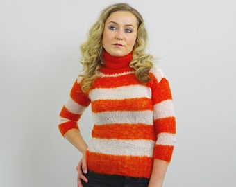 Striped Hand knitted Turtleneck Sweater
