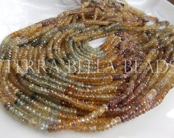 "7"" half strand NATURAL ZIRCON faceted gem stone rondelle beads 4mm multicolored"