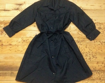 French 1960s Vintage Women Teacher Black Belted Work Coat - Made in France - New - XL