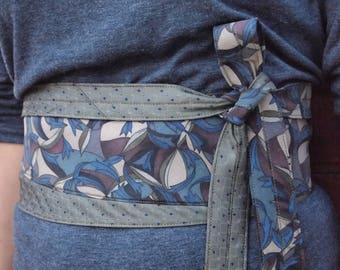 Jardin Nocturne - Vintage Recycled Neckties Obi Corset Belt Khaki Blue Plum
