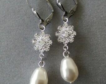 Swarovski Pearl and Crystal Bridal Earrings with Steel Leverback Earwires
