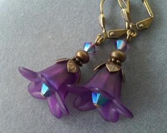 Dark Purple Lucite Flower and Swarovski Crystal Earrings
