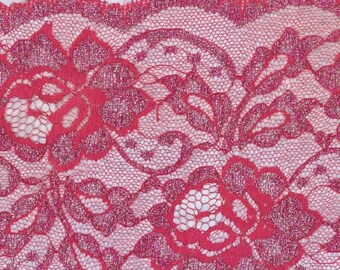 Hot PINK Lace Silver Thread 60 inches WIDE Fabric 5/6 Yard