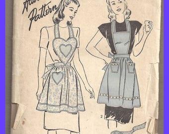 Vintage Advance Apron Pattern Unprinted 3920 1940's Fashion Original Complete