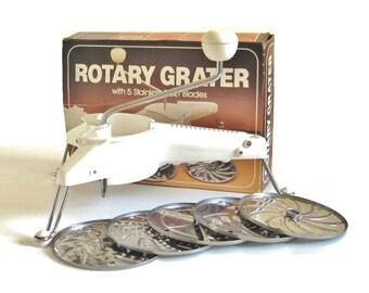 Plastic Rotary Grater Shredder Slicer Salad Maker, complete with 5 metal disks, Hong Kong (twin of Mouli Julienne)