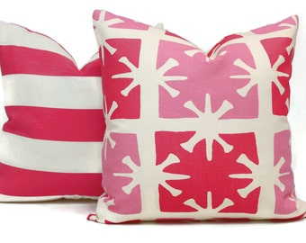 Pink Georgia Quadrille Pillow Cover, As seen in HGTV magazine, Accent Pillow, Throw Pillow, Toss, China Seas