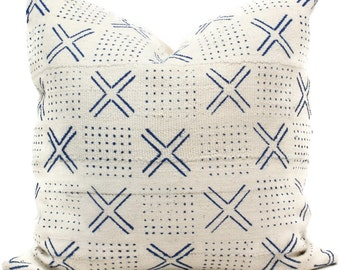 Mud Cloth Pillow, Decorative Pillow Cover Blue and White Geometric African Mud Cloth, Hand made fabric from Mali 20x20 or lumbar pillow