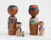 Antique Japanese Kokeshi Dolls - Bobbleheads Pair - Souvenir from Japan - Nesting Wooden Dolls