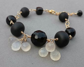 Black and Gold Filled Bracelet with Onyx, Spinel, Black Agate and Chalcedony Cluster