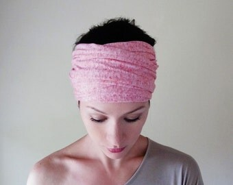 BUBBLEGUM Head Scarf - Extra Wide Hair Wrap - Heather Pink Jersey Headband - Extra Wide Yoga Hair Wrap - Womens Head Covering