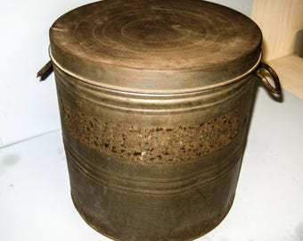 EARLY TIN DRUM w/ Cover- Antique Storage Container, General Store Feature, Held Lard, Dry Food, Crackers, Pretzels Etc.