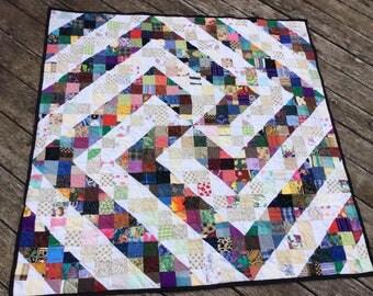 Twirl a Swirl Scrappy lap quilt